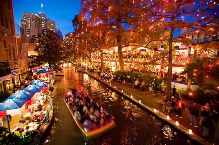 San Antonio's Riverwalk is festooned with lights at Christmastime.
